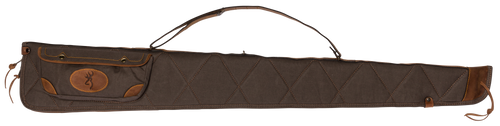"""Browning Long Rifle Case 52"""" Leather & Canvas Flint/Brown"""