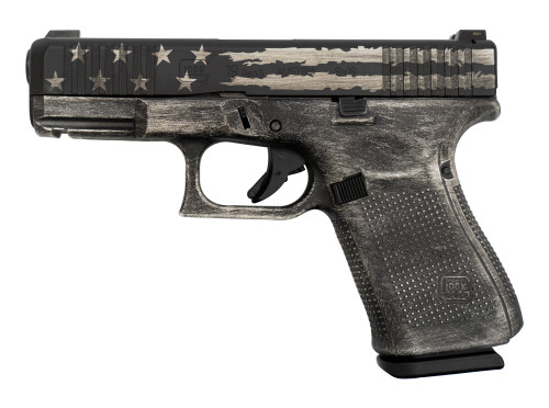 "Glock 19 Gen5 AUS 9mm,  4"" Barrel, Glock Night Sights, Brushed Silver/Black Flag, 15rd"