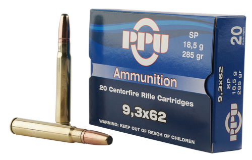 PPU Metric Rifle 9.3mmX62 Mauser 285gr, Soft Point, 20rd Box