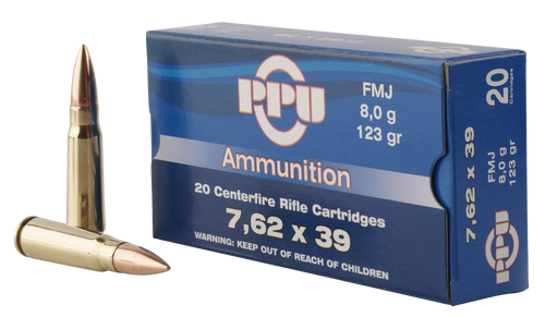 PPU Metric Rifle 7.62x39mm 123gr, Full Metal Case, 20rd Box