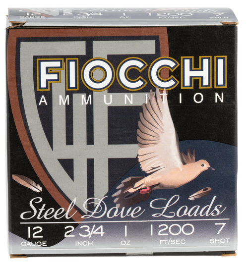 """Fiocchi Dove & Quail Steel 12 Ga, 2-3/4"""", 1oz, 7 Shot, 25rd Box"""