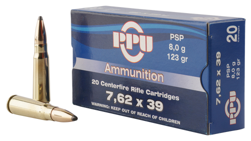 PPU Metric Rifle 7.62x39mm 123gr, Pointed Soft Point, 20rd Box