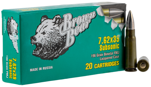 Fime Group Bear 7.62X39 196gr, Bi-Metal Case, FMJ, Subsonic, 20rd Box