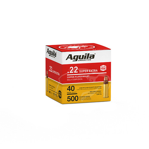 Aguila Standard High Velocity 22 LR 40gr, Copper-Plated Solid Point, 500rd Box