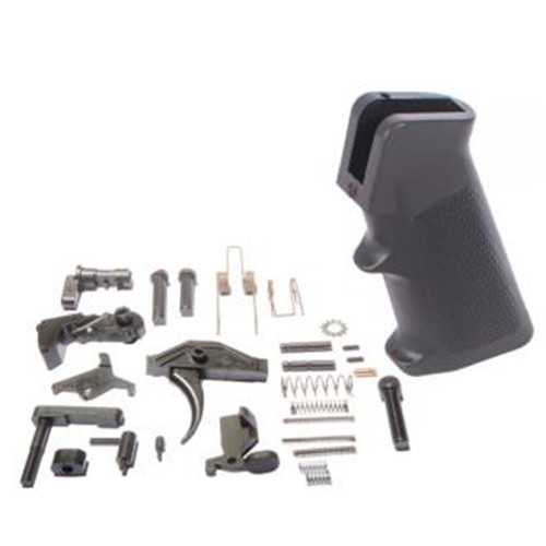 ATI AR15 Complete Lower Parts Kit, Nano Composite Parts, Black Pistol Grip