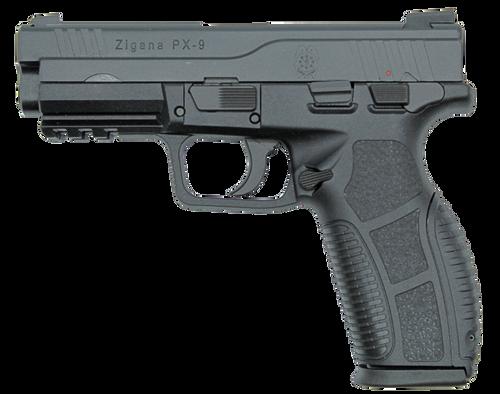 "SDS Imports Zigana PX9 9mm 4.50"" 18+1 Black Melonite Steel Slide Black Interchangeable Backstrap Grip"