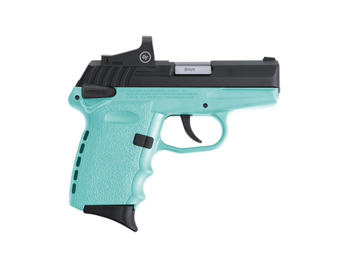 "SCCY Industries CPX-1 RD 9mm 3.10"" 10+1 Black Nitride Stainless Steel Slide Robin Egg Blue Polymer Grip CTS-1500 Red Dot"