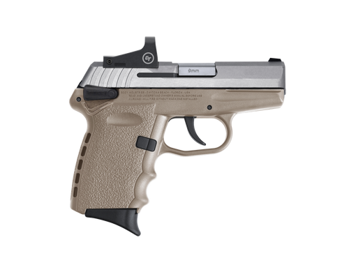 "SCCY Industries CPX-1 RD DAO 9mm 3.10"",  Stainless Slide Flat Dark Earth Polymer Frame/Grip Crimson Trace CTS-1500,  10 rd"