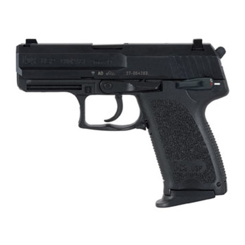 """HK, USP40, V1, Double Action/Single Action, Semi-automatic, Polymer Frame Pistol, 40 S&W, 3.58"""" Barrel, Black, 3 Dot Sights, Manual Thumb Safety, 10 Rounds, 2 Magazines"""