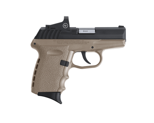 "SCCY Industries CPX-2 RD DAO 9mm 3.10"",  Black Slide Flat Dark Earth Polymer Frame/Grip Crimson Trace 1500 Red Dot No Manual Safety,  10 rd"