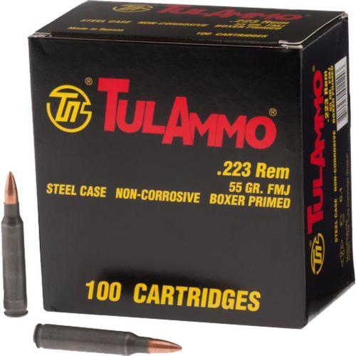 Tulammo 223 Rem/5.56 NATO FMJ 55gr, Steel Case, 100rd/Box