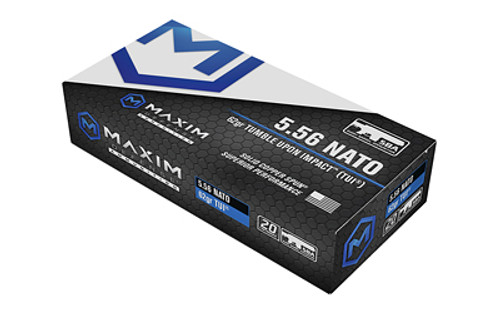 Maxim 5.56x45mm 62gr TUI Ammo, 20rd Box