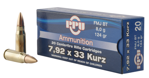 PPU Metric Rifle 7.9x33mm Kurz 124gr, Full Metal Jacket, 20rd Box