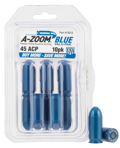 A-Zoom .45 ACP Training Rounds, Blue, 10 Pack