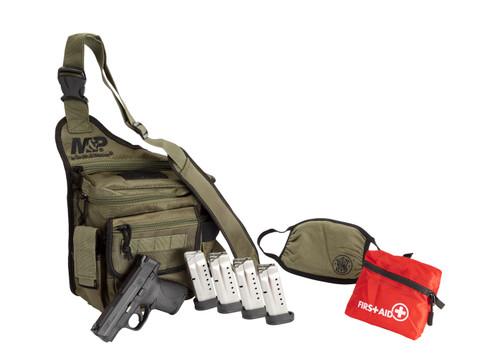 "Smith & Wesson M&P Shield 9mm 3.10"" 8+1, 7rd Matte Black Armornite Stainless Steel Slide Black Polymer Grip Bug Out Bag Bundle"
