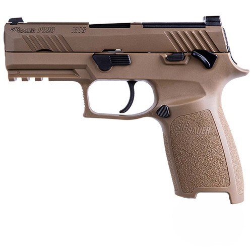 "Sig P320 M18, Striker Fired, 9mm, 3.9"" Barrel, Polymer Frame, Coyote Finish, Manual Safety, Night Sights, 10Rd, 3 Magazines"