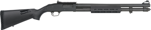 "Mossberg 590A1, XS Security 12 Ga, 3"" Chamber, 20"" Heavy Wall Barrel, Parkerized Black, Synthetic Stock with +4 Shell Holder and M-Lok Forend, 9Rd, XS Ghost Ring/AR Style Sights"