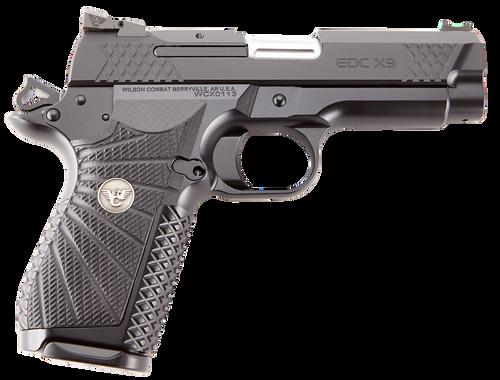 "Wilson Combat, EDCX9, Semi-automatic, Compact, 9mm, 4"" Barrel, Black Armor Tuff Finish, Green Fiber Optic Sights, Manual Safety, Non-Lightrail, 15Rd"