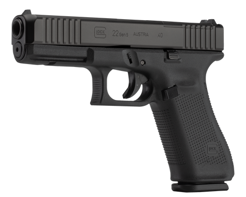 """Glock 22 Gen5 M.O.S. Full Size 40S&W, 4.49"""" Marksman Barrel, Matte, Ambi Slide Stop Lever, Flared Well, nDLC Slide and Barrel, No Grooves, 3x15rd Mags"""