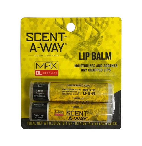 Hunters Specialties Scent-A-Way Lip Balm, Max Odorless, 2-Pack
