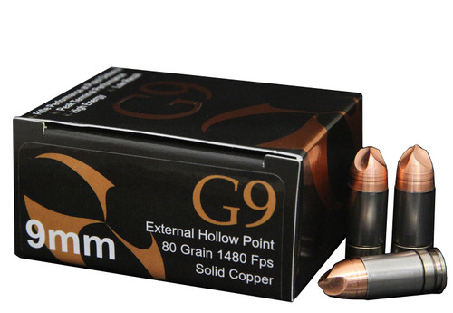 G9 9mm +P 80 Grain Solid Copper External Hollow Point, 20/box