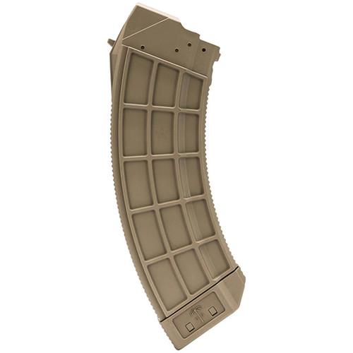 Century US Palm 7.62x39mm AK Platform Magazine 30rd Clear Flat Dark Earth Base Polymer Detachable