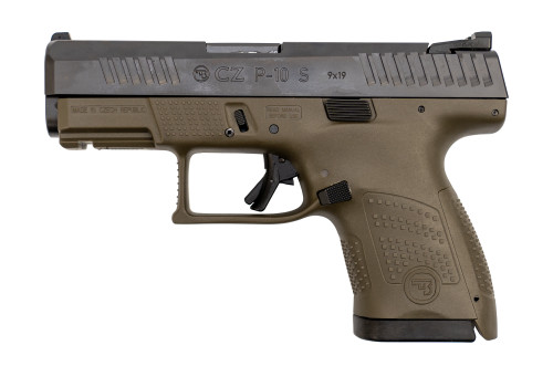 "CZ P-10 Sub Compact 9mm, 3.5"" Barrel, Fixed Sights, OD Green, 12rd"
