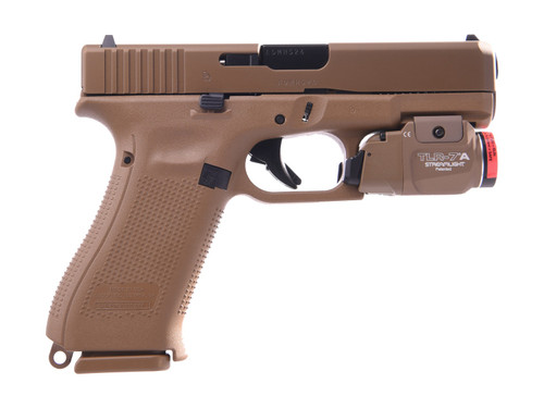 """Glock, 19X, Striker Fired, Compact, 9mm, 4.02"""" Marksman Barrel, Polymer Frame, Coyote Finish, 3 Magazines, 2-19Rd & 1-17Rd, Lanyard Loop, Ambidextrous Slide Stop Lever, No Finger Grooves, Includes Streamlight TLR-7, 500 Lumen Light"""