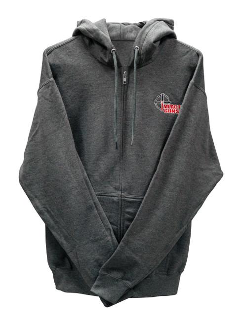 Impact Guns Zip Up Sweatshirt, Heather Gray, Medium