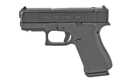 "Glock G43X MOS 9mm, 3.41"" Barrel, Fixed Sights, Black, 10rd"