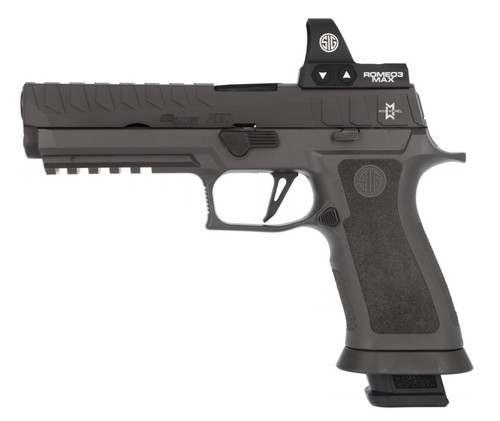 "Sig Sauer, P320 X5, Semi-automatic, Striker Fired, Full Size, 9mm, 5"" Barrel, Polymer Frame, Black Color, Ambidextrous Controls, Fiber Optic Sights, Sig Romeo 3 Max Red Dot Sight, 21Rd, 4 Magazines"