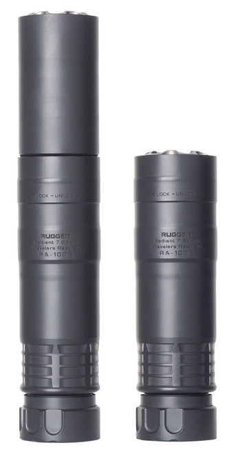 "Rugged Suppressor Radiant7.62 7.62mm, 7.5"" Length, 5/8x24 TPI, Black"