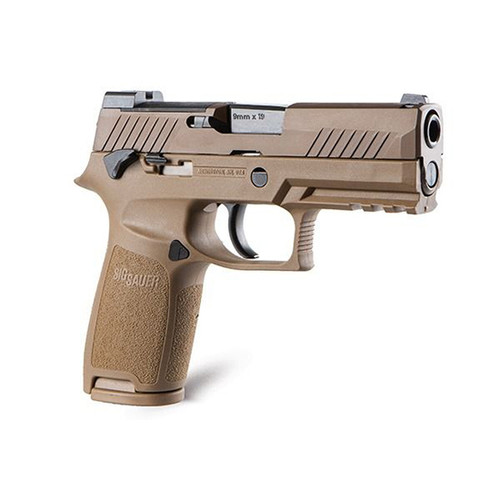 "Sig Sauer, P320 M18, Striker Fired, 9mm, 3.9"" Barrel, Polymer Frame, Coyote Finish, DP Pro Plate, Manual Safety, Night Sights, 1-17Rd Magazine & 1-21Rd Magazines"