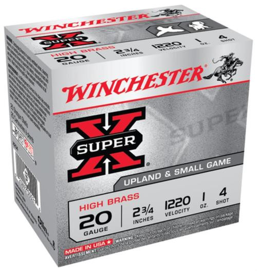 "Winchester Super-X High Brass 20 Ga, 2.75"", 1oz, 4 Shot, 25rd/Box"