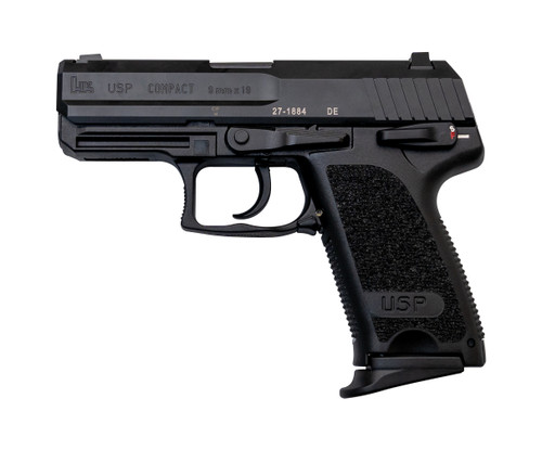 "HK USP Compact 9mm, 3.58"" Barrel, V1 SA/DA, Decocker, Fixed Sights, Black, 2x 13rd"