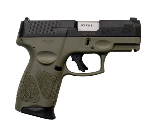 "Taurus G3C 9mm, 3.26"" Barrel, MTS, Adjustable Rear, Black/OD Green, 12rd"