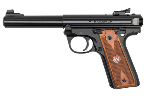 "Ruger Mark IV 22/45 .22 LR, 5.5"" Barrel, Blued, Wood Grips, 10rd"