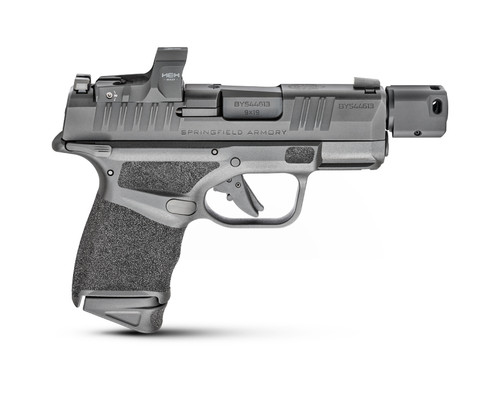 """Springfield Hellcat RDP, Striker Fired, Sub-Compact, Optics Ready, 9mm, 3.8"""" Barrel Compensator, Polymer Frame, Textured Grips, Tritium Night Sights, Thumb Safety 2 Mags, 13Rd, Black, Includes HEX Wasp Red Dot"""
