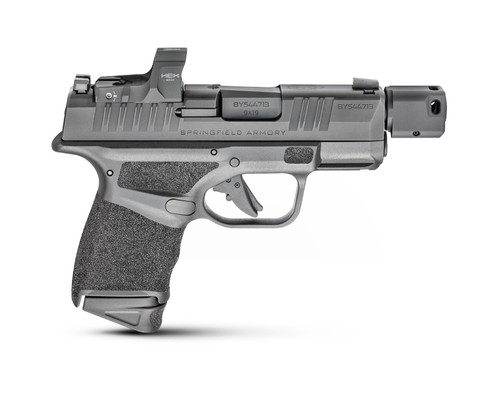 """Springfield, Hellcat RDP, Semi-automatic, Striker Fired, Sub-Compact, Optics Ready, 9mm, 3.8"""" Barrel  Compensator, Polymer Frame, Textured Grips, Tritium Night Sights, No Thumb Safety 2 Mags, 13Rd, Black, Includes HEX Wasp Red Dot"""