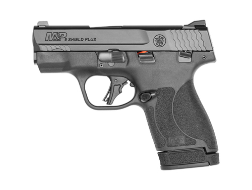 "Smith & Wesson, Shield Plus, Striker Fired, Micro-Compact, 9mm, 3.1"" Barrel, White Dot Sights, Polymer Frame, Thumb Safety, Flat Face Trigger, 2 Mags, 1-10Rd 1-13Rd, Black"