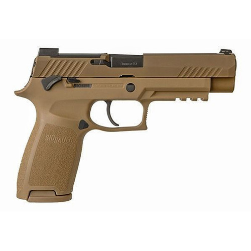 "Sig Sauer, P320 M17, Striker Fired, 9mm, 4.7"" Barrel, Polymer Frame, Coyote Finish, DP Pro Plate, Manual Safety, 1-17Rd Magazine, 1-21Rd Magazines, Siglite Night Sights"
