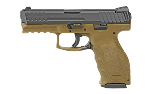 "HK VP9 9mm, 4"" Barrel, 3-Dot Contrast Sights, Black/FDE, 17rd"