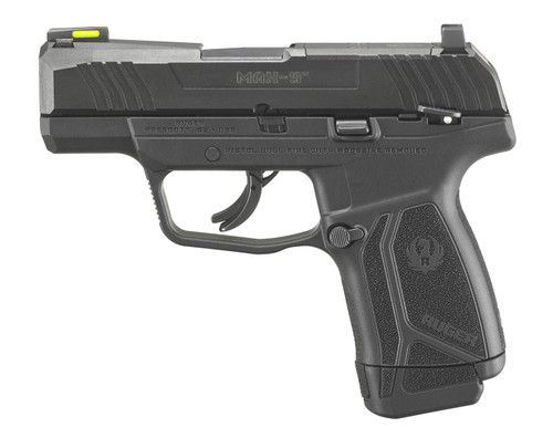 """Ruger, MAX-9 Striker Fired, Sub-Compact, 9mm, 3.2"""" Barrel, Black Oxide Finish, Polymer Frame, Thumb Safety, Optic Ready, Front TFO Night Sight, 12Rd, 1-12Rd and 1-10 Magazine"""
