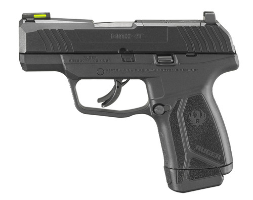"""Ruger, MAX-9, Semi-automatic, Striker Fired, Sub-Compact, 9mm, 3.2"""" Barrel, Black Oxide Finish, Polymer Frame, No Thumb Safety, Optic Ready, Front TFO Night Sight, 2 10rnd"""