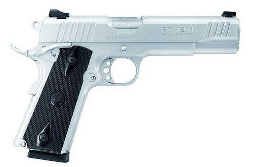 "Taurus PT1911 .38 Super, 5"" Barrel, Black Checkered Grips, Stainless Finish, 9rd"