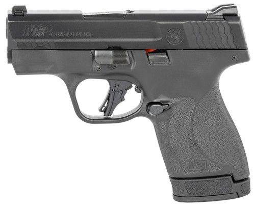"Smith & Wesson, Shield Plus, Striker Fired, Micro Compact, 9mm, 3.1"" Barrel, White Dot Sights, Polymer Frame, No Thumb Safety, Flat Face Trigger, 2 Mags, 1-10Rd 1-13Rd, Black"