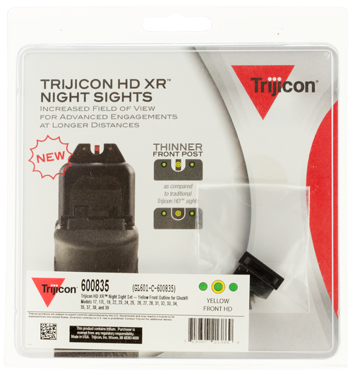 Trijicon HD Night Sights Fits Glock 17/19/22/23/24/26/27/33/34/35/37/38/39 Tritium Green Yellow Outline Front Tritium Green Black Outline Rear