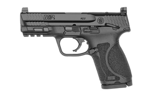 "Smith & Wesson M&P 2.0, Optics Ready, Striker Fired, Compact Frame, 9mm, 4"" Barrel, Thumb Safety, Black, 15Rd, 2 Mags, Tall White Dot Sights"