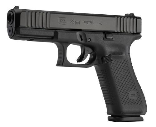 "Glock 22 Gen5 .40 S&W, 4.49"" GMB, Fixed Sights, Flared Magwell, Black, 10rd"