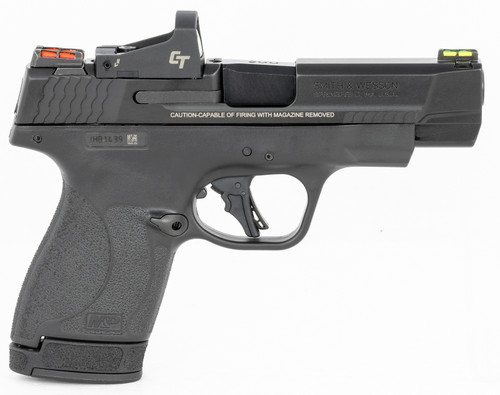 "Smith & Wesson, Shield Plus, Performance Center, Includes Crimson Trace Red Dot, Striker Fired, Micro Compact, 9mm, 4"" Barrel, Optics Ready, Polymer Frame, No Thumb Safety, Fiber Optic Sights, Flat Face Trigger, 2 Mags, 1-10Rd 1-13Rd, Black"